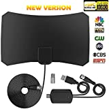[Newest 2018 Version] Amplified HD Digital TV Antenna Kit, with 65-80 Miles Long Range - Support 4K 1080p / All Older Digital TV - Detachable Amplifier Signal Booster And 13ft Coax Cable Packaged