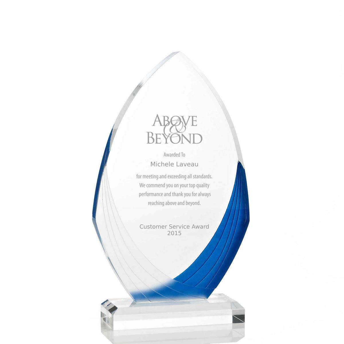 Engraved Trophy - Acrylic - Peaked Ellipse Shaped - Blue and Frosted White - Award for Employees - Personalized Engraving Up To Three Lines and Pre-Written Verse Selection - Comes In Gift Box by Baudville