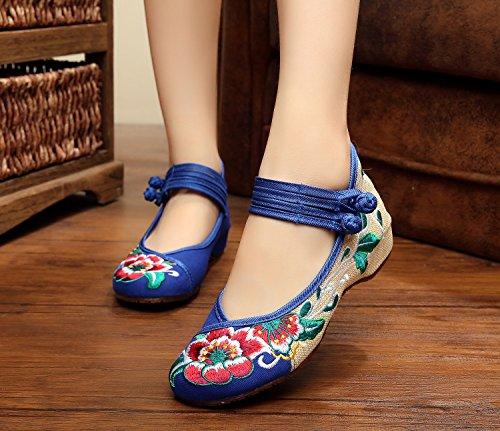 Etnico Blue Scarpe Donna Da Moda Stile Ballo Comode Suola Ricamate A Ming Tendina 6qx1pFYYw