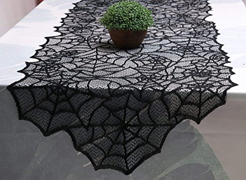 Moonvvin Lace Spiderweb Halloween Table Runner Black Cobweb