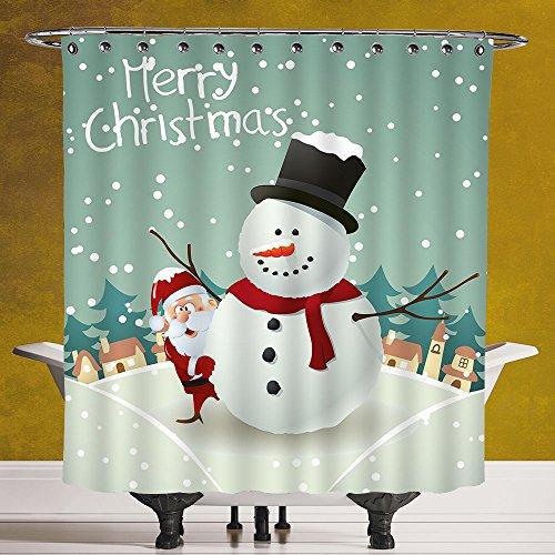 Decorativa cortina de ducha 3.0[Navidad, feliz Navidad dibujos animados con casas de Papá Noel Muñeco de nieve pinos...