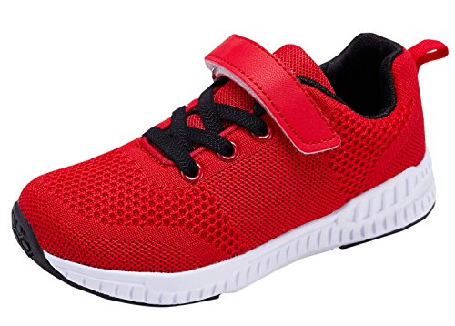 KARIDO Kids Lightweight Breathable Running Shoes Boys Gilrs Fashion Sneakers Casual Sports Walking Shoes N-Red ()