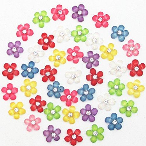 m(0.4'') Mini Resin Flowers with Shiny Rhinestone Flatback Resin Buttons Resin Flatback Craft Flowers Phonecover Cards Craft Scrapbooking (Mini Purple Diamonds)