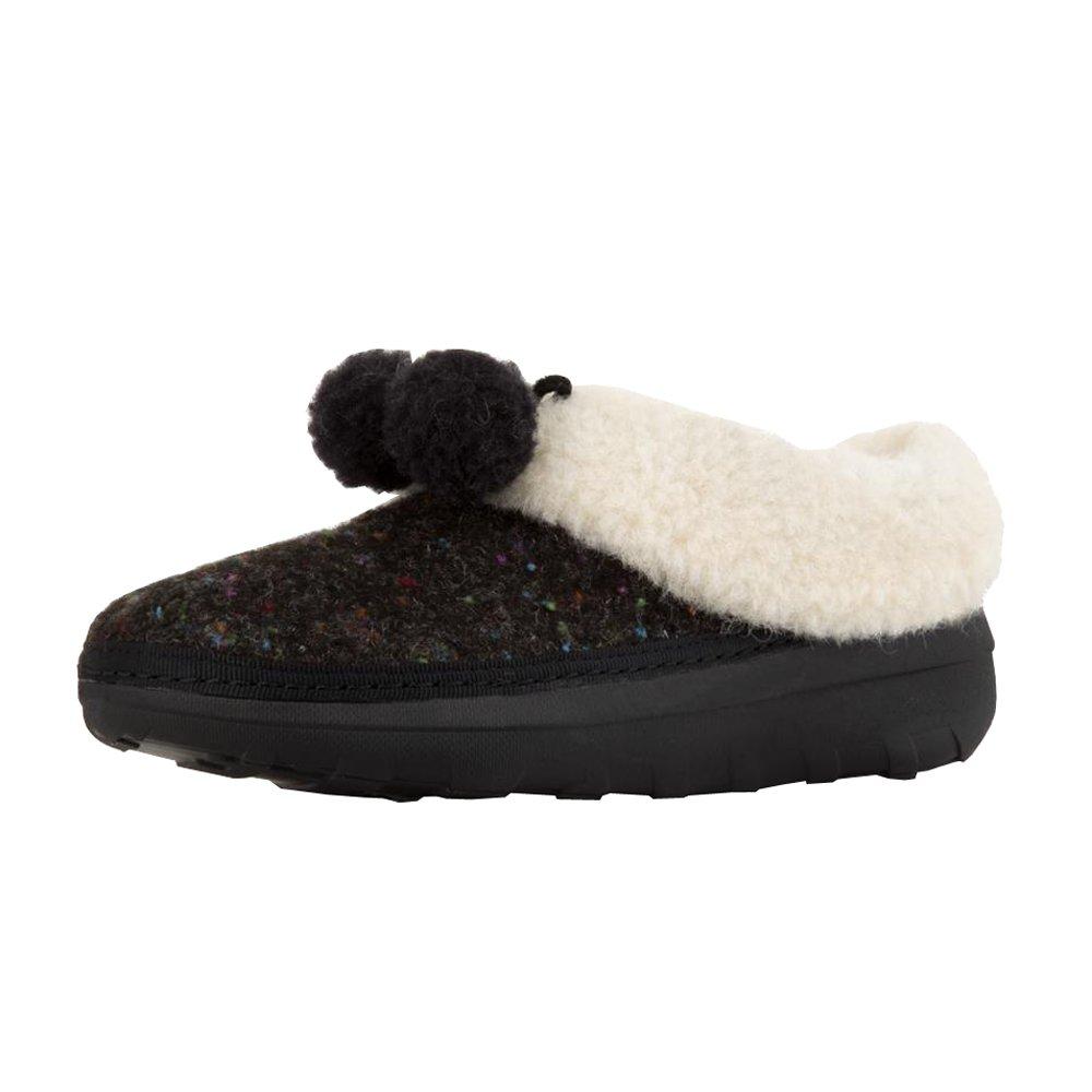 FitFlop Women's Loaff SNUG POM Slippers, Black, 7 M US