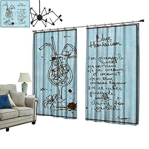 (PRUNUS Curtain with Hook Drawn Sketch pina Colada Cocktail inclu Recipe redients Blackout Draperies for Bedroom,W84.3)