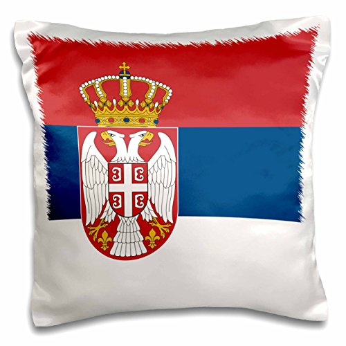 3dRose pc_158425_1 flag of Serbia Serbian Red Blue White Trobojka Stripes Coat of Arms double-Headed Eagle Crown Shield-Pillow Case, 16 by 16