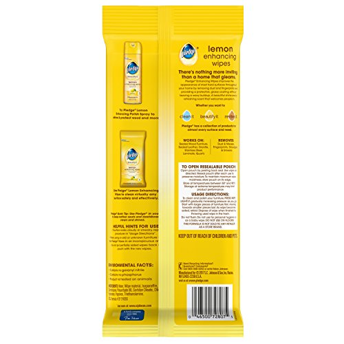 Pledge Lemon Wipes, 24 Count (Pack of 2) - 6