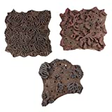 IndianShelf Handmade Set of 3 Piece Brown Wooden Stamp Canvas Fabric Indian Textile Printing Blocks