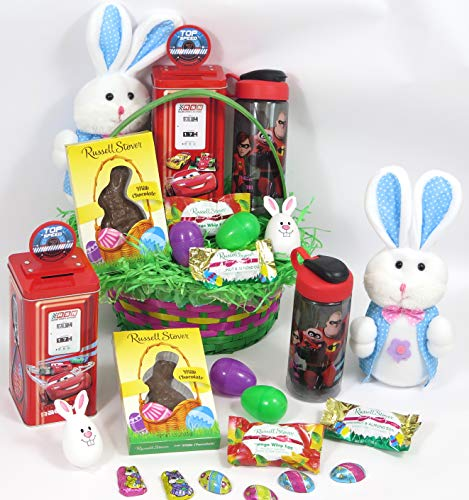 - Incredible Easter Large Basket Gift Set, Includes Incredible Tumbler, Toy Bank, Russell Stover Chocolate Bunny, Plush Bunny.