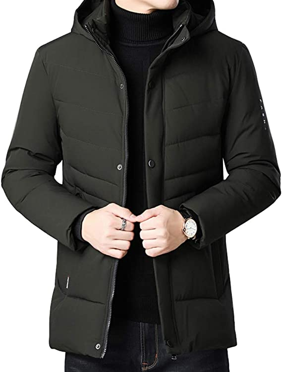 4How Mens Jacket Winter Warm Faux Fur Parka Windproof Coats with Hood