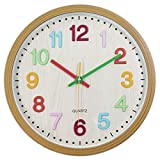 Foxtop Kids Wall Clock, Silent Non-Ticking Battery Operated Wall Clock with Easy to Read 3D Numbers & Acrylic Cover for Classroom, Kids Room, Playroom Décor