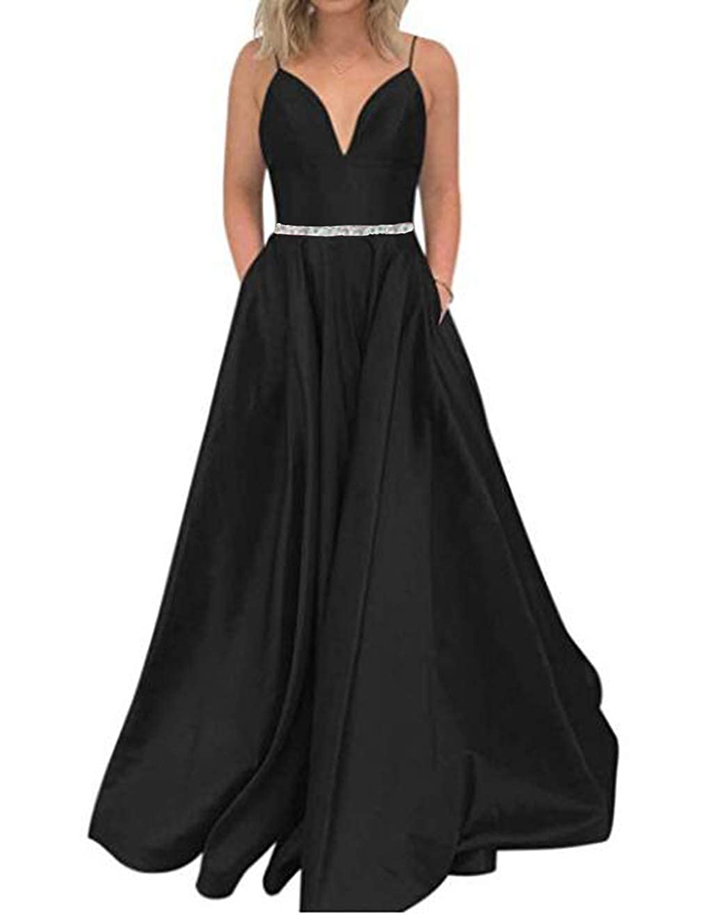 Black Tsbridal Women's A Line Bead Prom Dresses V Neck Satin with Pockets Evening Gown