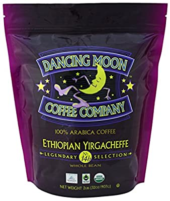 Dancing Moon Ethiopian Yirgacheffe Whole Bean Organic Fair Trade Coffee, 2 lbs.