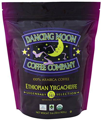 Dancing Moon Ethiopian Yirgacheffe Ensemble Bean Organic Fair Trade Coffee, 2 lbs.