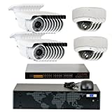5MP (2592x1920p) 24 Channel 1920P NVR Network PoE IP Security Camera System – HD 1920p 2.8~12mm Varifocal Zoom (16) Bullet and (8) Dome IP Camera – 5 Megapixel (3,000,000 more pixels than 1080P) For Sale