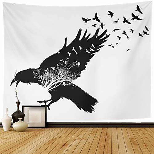 Ahawoso Tapestry Wall Hanging 80x60 Feather Crow Raven Double Exposure Trees Birds Air Wildlife Flock Nature Beak Corvus Home Decor Tapestries Decorative Bedroom Living Room Dorm