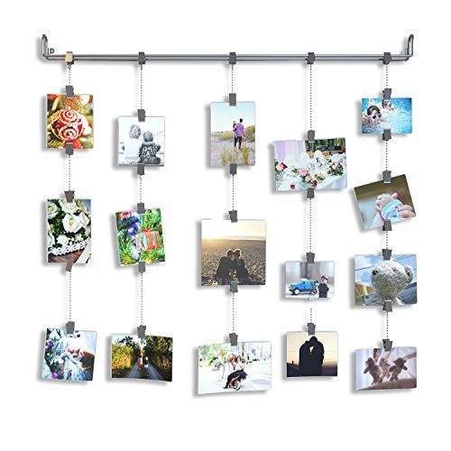 Hanging Photo Organizer Rail With Chains and 32 Clips Gray
