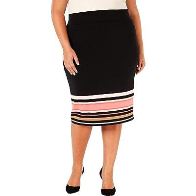Alfani Womens Plus Striped Below Knee Scuba Skirt at Amazon Women's Clothing store