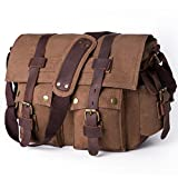 Crossbody Messenger Bag BZIXILU School Satchel Bag for Men 15'' inch Laptop Vintage Canvas Travel Bag