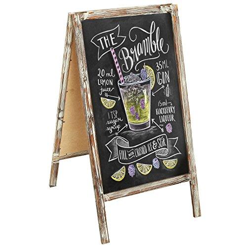 MyGift Whitewashed Brown Sidewalk A-Frame Chalkboard Sign, Sandwich Memo Board 41x22 -