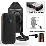 AODELAN External Flash Battery Pack Speedlite Battery Power Bank for Canon 600EX, 600EX II-RT, 600EX-RT, 580EXII, 580EX, 550EX,MR-14EX,MR -24EX. Replaces Canon CP-E4, CP-E4N(12AA Batteries)