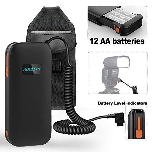 AODELAN External Flash Battery Pack Speedlite Battery Power Bank for Canon 600EX, 600EX II-RT, 600EX-RT, 580EXII, 580EX, 550EX,MR-14EX,MR -24EX. Replaces Canon CP-E4, CP-E4N(12AA Batteries) (External Flash Battery Pack For Canon 600ex Rt)