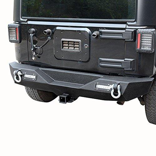 - LEDKINGDOMUS Rear Bumper for 07-18 Jeep Wrangler JK and JK Unlimited with 2x LED Lights & 2