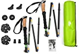 Cascade Mountain Tech Durable Aluminum Compact Folding Collapsible Trekking Poles with Cork Grip & Quick Lock