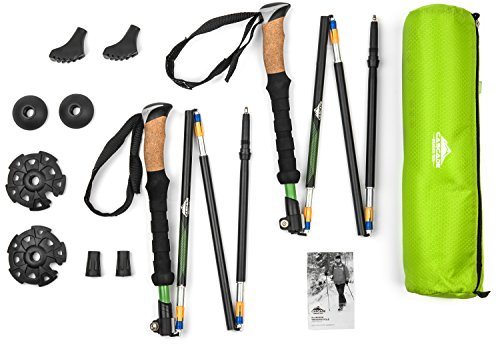 Cascade Mountain Tech Aluminum Folding Travel Trekking Pole with Cork Grips for Hiking and Walking