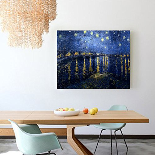 Niwo Art (TM) - Starry Night Over The Rhone, by Vincent van Gogh - Oil painting Reproductions - Giclee Canvas Prints Wall Art for Home Decor, Stretched and Framed Ready to Hang (16 x 20 x 1.5 Inch)