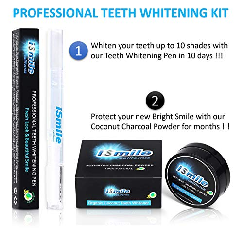 2IN1 TEETH WHITENING PEN KIT  35 Carbamide Peroxide Pen amp Organic Coconut Charcoal Powder  Professional Strength  No Sensitivity  by iSmile California