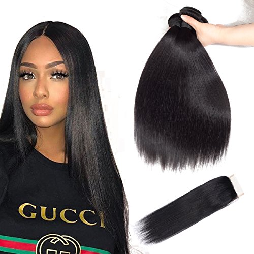Price comparison product image Brazilian Hair Straight with Closure Straight Human Hair with Closure 14 1618 With12 Inch Straight Hair Bundles with Lace Closure 4X4 Size Color 1B