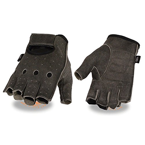Fingerless Distressed Grey Mens Big size upto 5XL Gel perforated leather gloves(4XL) (Fingerless Gloves Perforated)