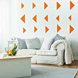 """Set of 15 Vinyl Wall Art Decal - Solid Triangle Patterns - From 3"""" To 9"""" Each - Modern Decor For Home Apartment Workplace - Geometric Design For Living Room Bedroom Decals (From 3"""" to 9"""" each, Orange)"""