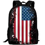 OIlXKV America Flag Print Custom Casual School Bag Backpack Multipurpose Travel Daypack For Adult