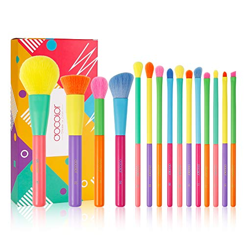 Docolor Makeup Brushes 15 Pieces Colourful Makeup Brush Set Christmas Gift Premium Synthetic Kabuki Foundation Blending Face Powder Mineral Eyeshadow Make Up Brushes Set - Dream of Color