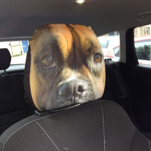 CAR SEAT HEAD REST COVERS 2 PACK BOXER DOG CLOSE UP DESIGN MADE IN YORKSHIRE