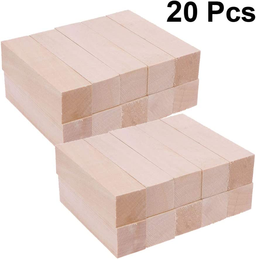 Healifty Unfinished Wood Blocks Rectangle Wooden Cubes Basswood Wood for DIY Carving Handmade Material 10x2.5x2.5CM 20pcs