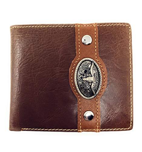 Western Genuine Leather Mens Metal Concho Longhorn Bifold Short Wallet 3 colors (Coffee)