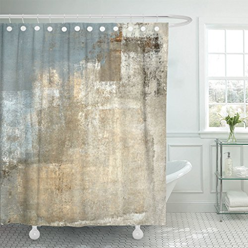TOMPOP Shower Curtain Brown Contemporary Grey and Beige Abstract Painting Gray Modern Waterproof Polyester Fabric 72 x 72 Inches Set with Hooks -