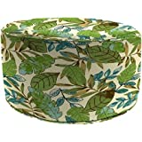 Jordan Manufacturing Polyester Fabric Resists Fading Round Outdoor Floral Pouf Green Patio Ottoman, Marley Emerald