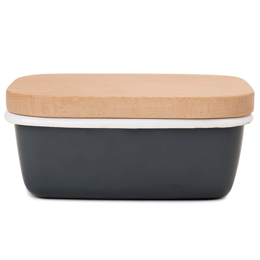 GA Homefavor Enamel Butter Dish Butter Box Butter Keeper Container With Wooden Lid, Charcoal Grey