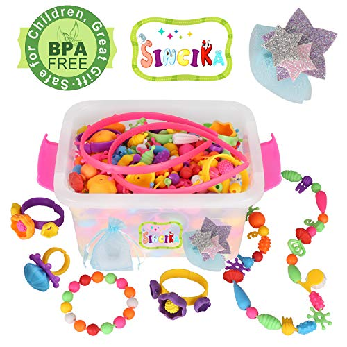 Pop Snap Beads Set for Kids with Storage Box ( 520 PCS) - Creative DIY Dress Up Jewelry Toys for Making Necklace,Bracelet and Ring - Ideal Christmas Birthday Gifts for 4,5,6,7,8 Years Old Girls (B)]()