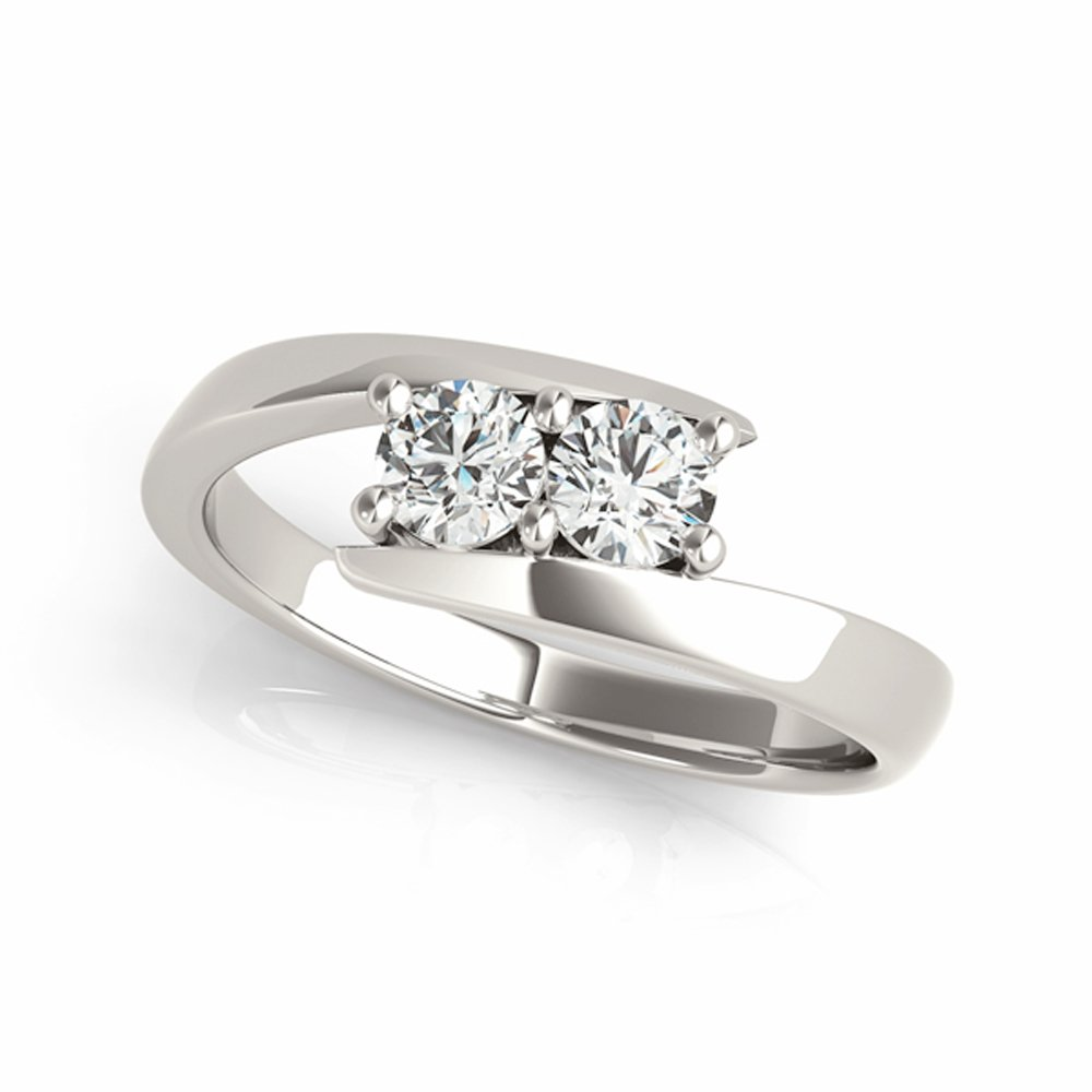 Two-Stone Ring Forever Us 1/4 ct tw Diamonds 14K Yellow,White or Rose Gold (White Gold, 9)