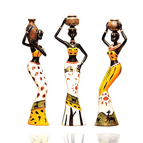 3Pcs African Figure Sculpture Tribal Lady Figurine Statue Decor Collectible Art Piece, 7.5-Inch