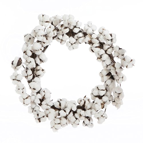 Farmhouse Rustic Style Cotton Boll Wreath Home Decoration, 24 Inch