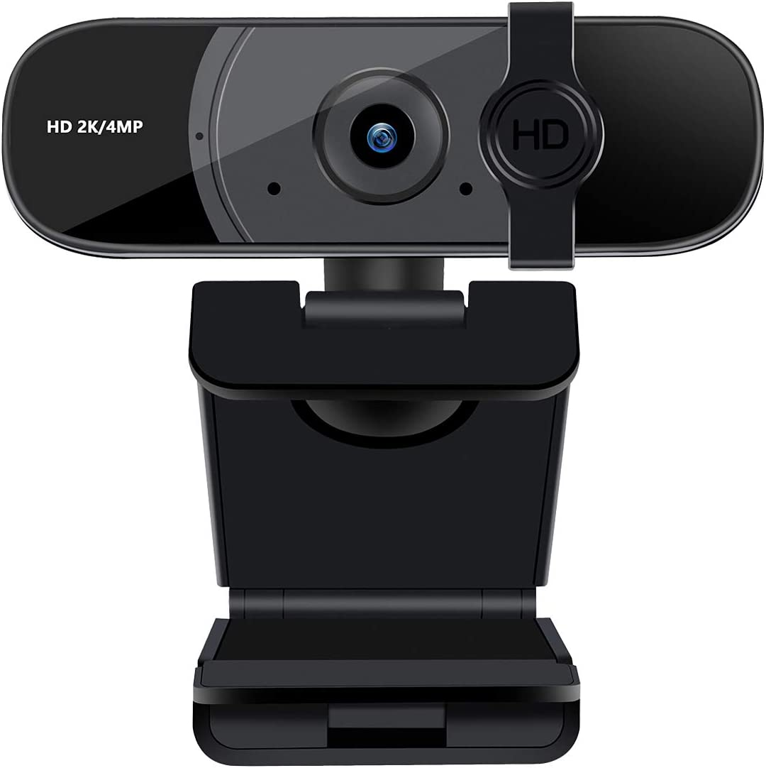 Webcam with Microphone & Privacy Cover, USB HD Web Camera 2K 1440P Desktop Laptop PC Computer Streaming Web cam for Video Conferencing, Teaching, Streaming, 360-Degree Rotation