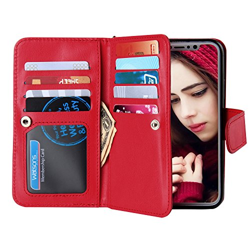 Crosspace iPhone Xs Max Wallat Case, iPhone Xs Max Case PU Leather Wallet Case 2-in-1 Detachable Protective Magnetic Shell with Nine Card Holder Slots and Wrist Lanyard for iPhone Xs Max 6.5-Red