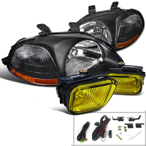 Spec-D Tuning Black Headlights W/Yellow Fog Lamp Switch Kit for 1996-1998 Honda Civic 2/3/4Dr Left + Right Pair