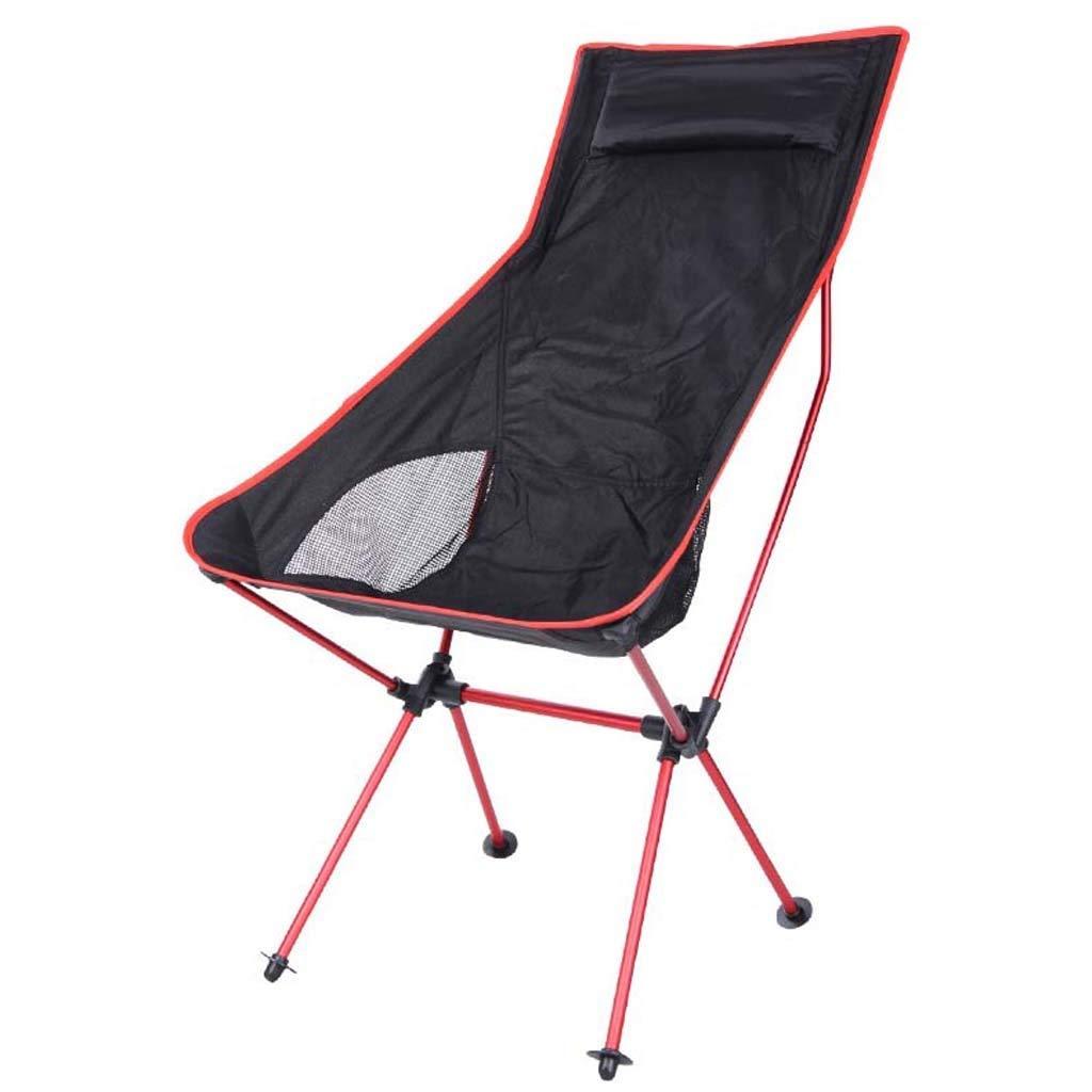 rot MEIEI Faltender kampierender Stuhl im Freien, ultraleichter tragbarer Fischen-Strand-Stuhl-Oxford-Stoff-Luftfahrt-Aluminiumrückenlehne-Lehn (Farbe   rot)